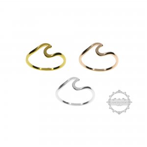 1Pcs rose gold silver alloy sea wave summer beach bohemia fashion women ring gift 6290037