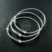 1Pcs 65MM Diamter Solid 925 Sterling Silver Simple Wiring Bracelet Bangle For DIY Beading 1900091