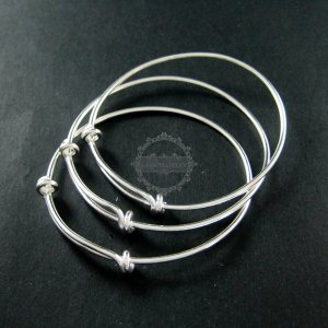1pcs 65mm diameter solid 925 sterling silver simple wiring bracelet bangle for DIY beading 1900091
