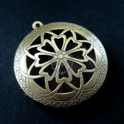 5pcs 33MM vintage bronze antiqued flower engraved round photo locket pendants DIY supplies 1111045