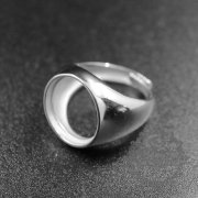 1pcs 16mm round bezel 925 sterling silver simple adjustable ring 1212029