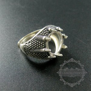 1pcs 13mm setting size dragon claw round bezel tray 925 sterling silver ring setting DIY jewelry supplies 1213031