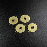 100pcs 15mm raw brass star compass charm with two loops DIY jewelry supplies findings 1800336