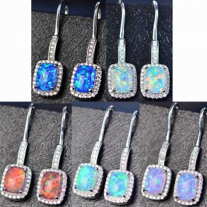 1Pair 9x28MM Silver Multi Color Mood Artificial Opal CZ Cubic Zirconia Pave Setting Elegant Luxury Fashion Women Wedding Hook Earrings 6730626
