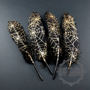 10pcs 17-25mm black bird feather paint with gold cobwebsDIY jewelry findings supplies 1506003