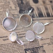 20Pcs 10MM silver plated brass round earring hoop,earring tray,earring setting,earring hook 1702007-1