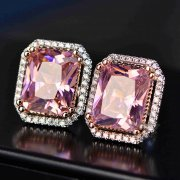 1Pair 11x13MM Silver Pink Rectangle Large CZ Cubic Zirconia Pave Setting Elegant Luxury Fashion Women Wedding Studs Earrings 6730618