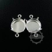 10pcs 12mm setting size silver plated two loop round bezel tray DIY pendant charm supplies 1411119