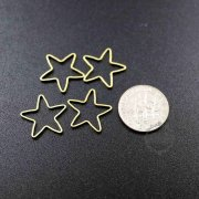 20pcs 16mm simple raw brass wire star loop closed ring DIY pendant charm supplies 1800329-3