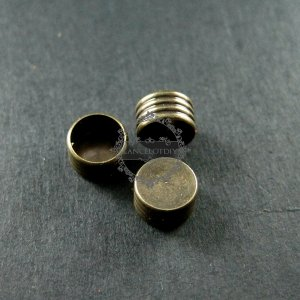 20pcs 4x6mm vintage style antiqued bronze brass glass tube base bezel DIY glass dome supplies findings 1531018