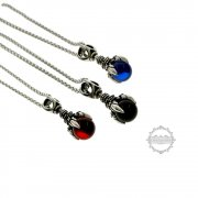 1pcs 14x44MM Stainless Steel Dragon Claw Blue,Black,Red Glass Bead Pendant Charm Antiqued Silver Retro Style Heavy Duty Fashion Man Necklace 22Inches 6340108