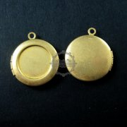 5pcs 14MM setting size vintage raw brass antiqued blank round photo locket bezel tray pendants DIY supplies 1110020