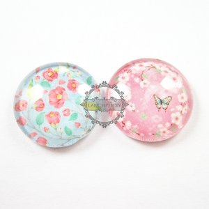 1set 25mm vintage style flower bird butterfly pink collage pattern round glass cabochon DIY supplies findings 4110053