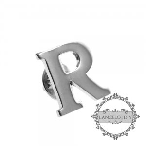 1pcs R 20mm initial letter alphabet rhodium silver color brass fashion brooch 6540001-18