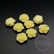 10pcs 12mm creamy color rose resin cabochon for pendant charm 4160013
