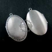 5pcs 26*40MM antique silver oval photo locket,antiqued photo locket pendant 1123004