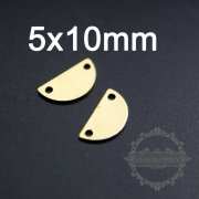 20pcs 5x10mm vintage style raw brass half round pendant charm with two holes DIY supplies 1800290-1
