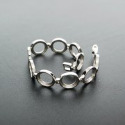 1Pcs Oval And Round Bezel Solid 925 Sterling Silver Bracelet Settings DIY Supplies 1900212