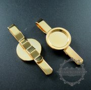 5pcs 15mm setting size round bezel gold plated brass DIY tie clip tie bar supplies findings 1540018