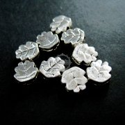 50pcs 8mm vintage antiqued silver flower leaf flat alloy beads DIY beading supplies 3993009