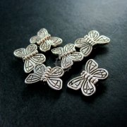 50pcs 10x15mm vintage antiqued silver butterfly flat alloy beads DIY beading supplies 3993010