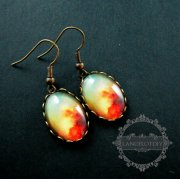 1pair 13x43mm sparkling galaxy collage cabochon chandelier fashion dangle earrings jewelry 675012501
