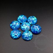 20pcs 15mm shiny blue resin round cabochon for DIY ring earrings supplies 4110145