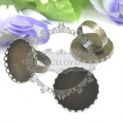 10pcs 25mm brass bronze vintage lace ring bezels base setting tray for DIY ring cabochon settings 1211026