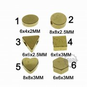 20pcs vintage style raw brass small round triangle squre hexagon beads stamping charm DIY supplies 1800368