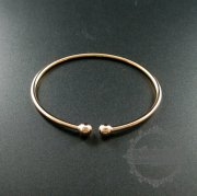 1pcs 60mm diameter rose gold plated 925 solid sterling silver 6mm double ball bracelet bangle cuff 1900148
