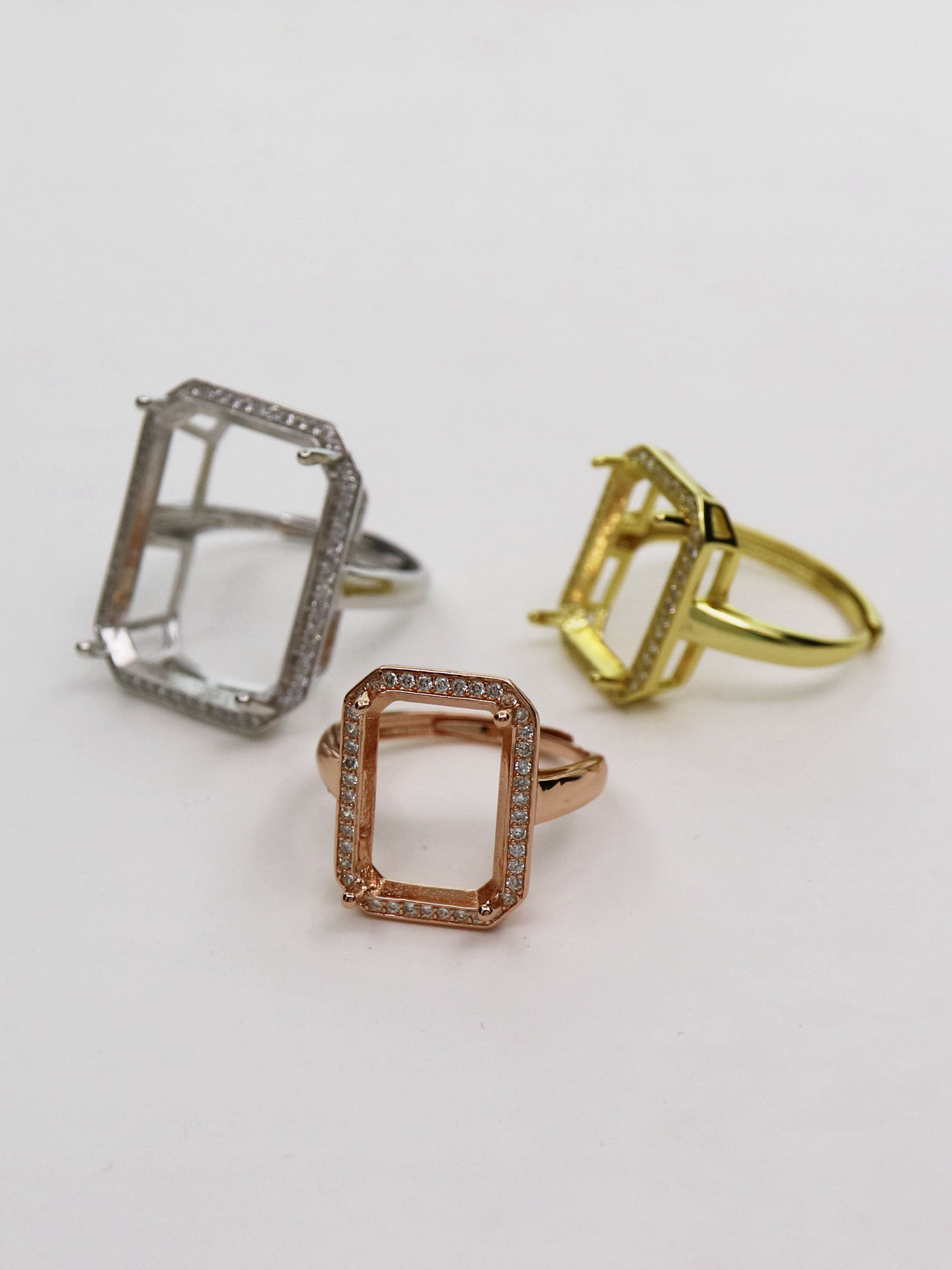 Details about  /Big Rectangle Earring 925 Silver Clear Cubic Zirconia Gemstone Rose Gold Vermeil