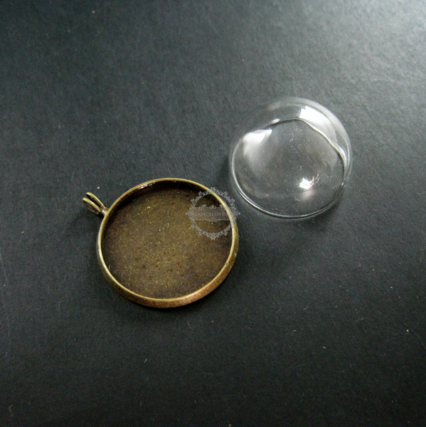 5sets 25mm setting size with glass dome cover vintage bronze 5sets 25mm setting size with glass dome cover vintage bronze antiqued round base tray pendant charm aloadofball Image collections