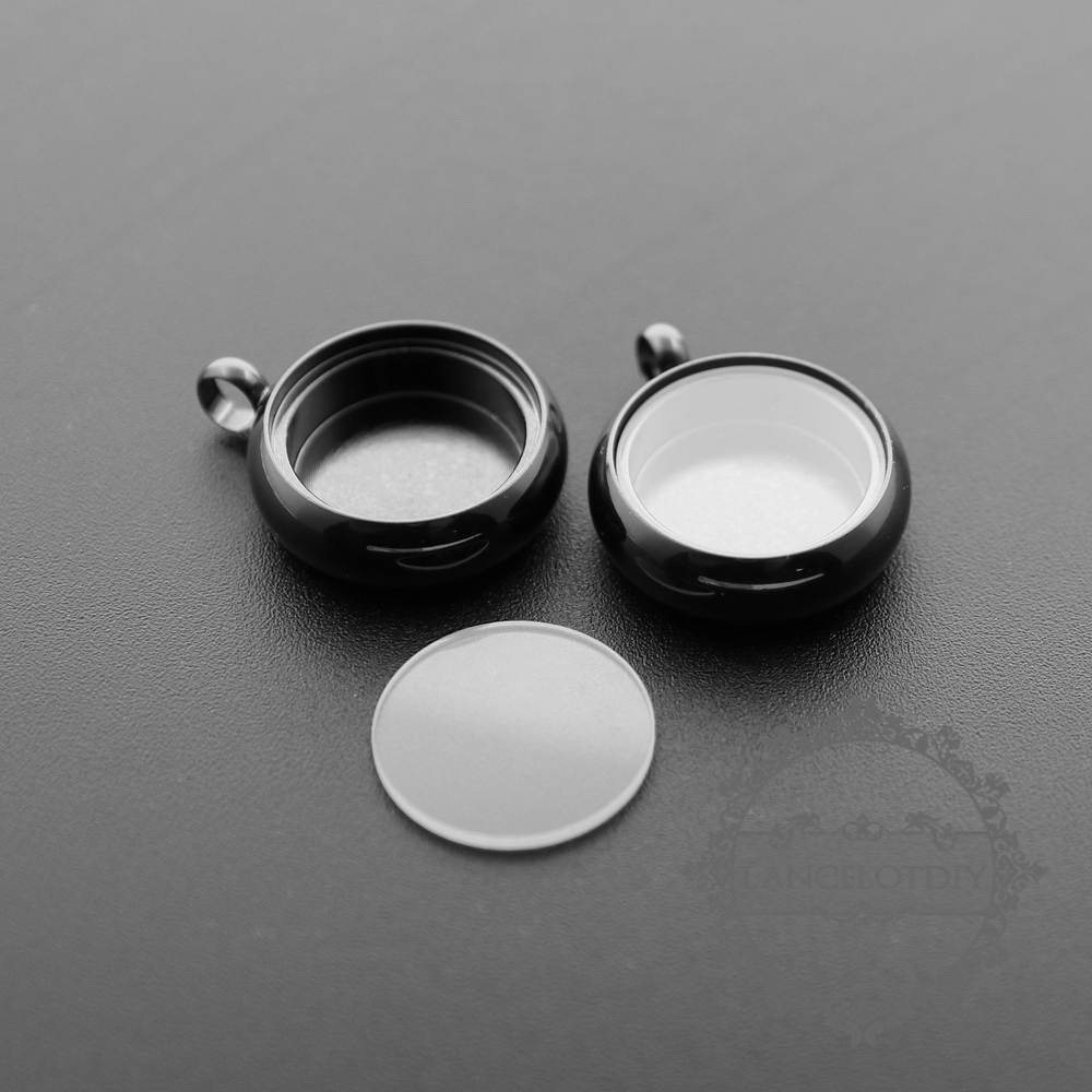 5pcs 16mm round bezel 5mm depth gun black floating pendant charm 5pcs 16mm round bezel 5mm depth gun black floating pendant charm with glass supplies 1411199 aloadofball Image collections
