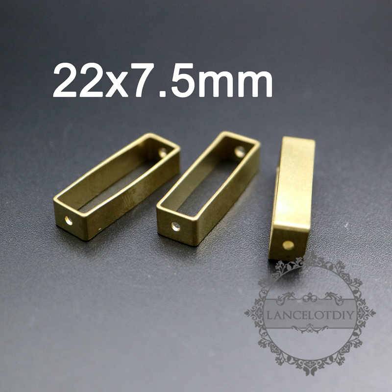 Jewelry Supplies Brass Square Pendant Square Ring Charms With 2 Holes 9 12x2.5mm Raw Brass Square Beads Geometric Stampings Bead Frame