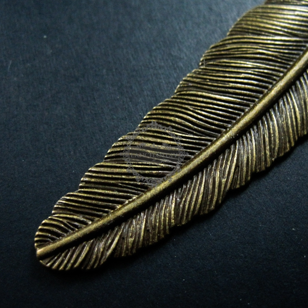 x6 Lot of Antiqued Bronze Metal Alloy Peacock Feather Craft Pendant 80x33x2mm