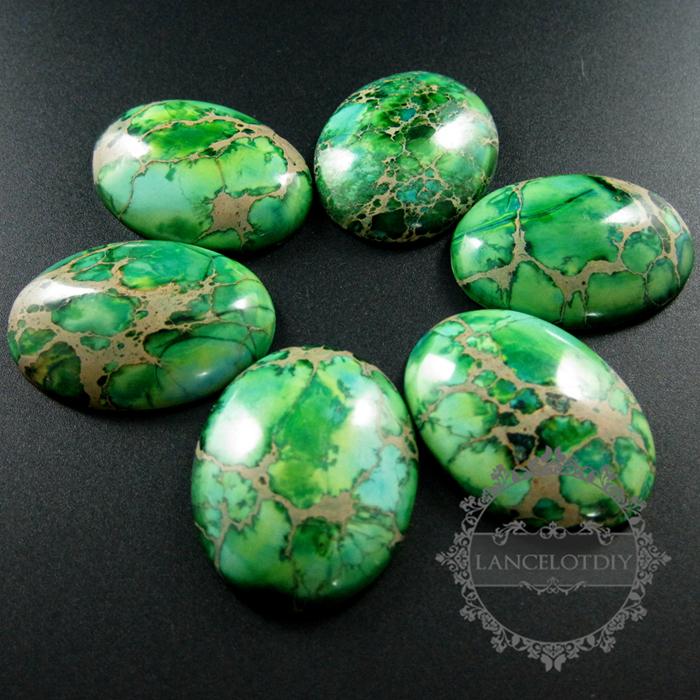 Finest 5pcs 30x40mm big oval grass green imperial jasper cabochon beads  AX31