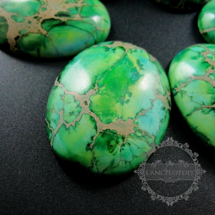 Fabulous 5pcs 30x40mm big oval grass green imperial jasper cabochon beads  ZS83