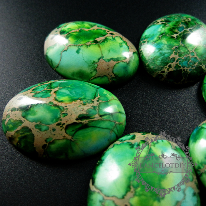 Lovely 5pcs 30x40mm big oval grass green imperial jasper cabochon beads  YY35
