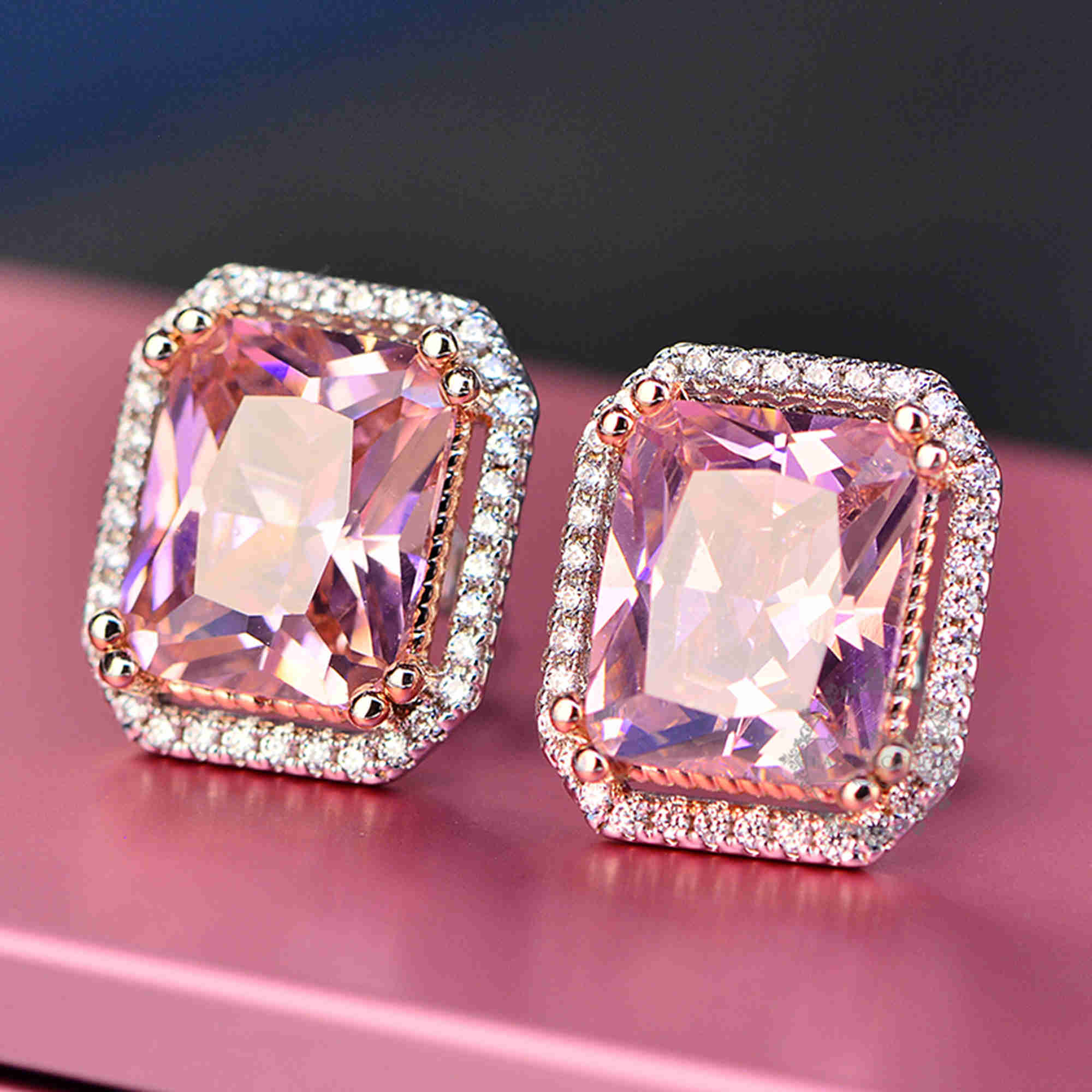 1Pair 11x13MM Silver Pink Rectangle Large CZ Cubic Zirconia Pave ...